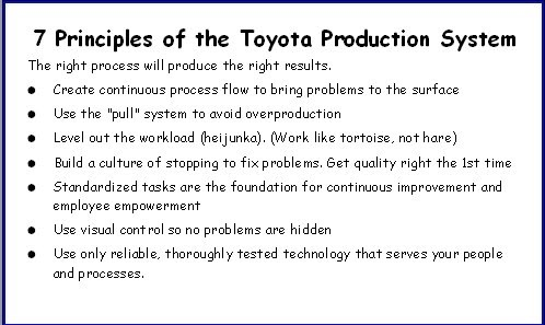 an overview of the toyota production system principles Learning to lead at toyota by steven j spear dna of the toyota production system, h the power of principles the insight that toyota applies underly-ing principles rather than speci c tools and processes explains why the com.