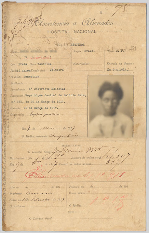 Prontuário  de uma Mulher no Hospício Nacional de Alienados - RJ (1917)