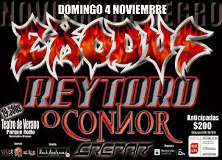 Afiche del recital de Exodus, Rey Toro, O'Connor y Crepar en Montevideo, Uruguay el 4 de Noviembre de 2007