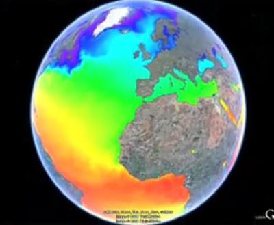 Google Oceans - Google Earth 5.0 - water temperature