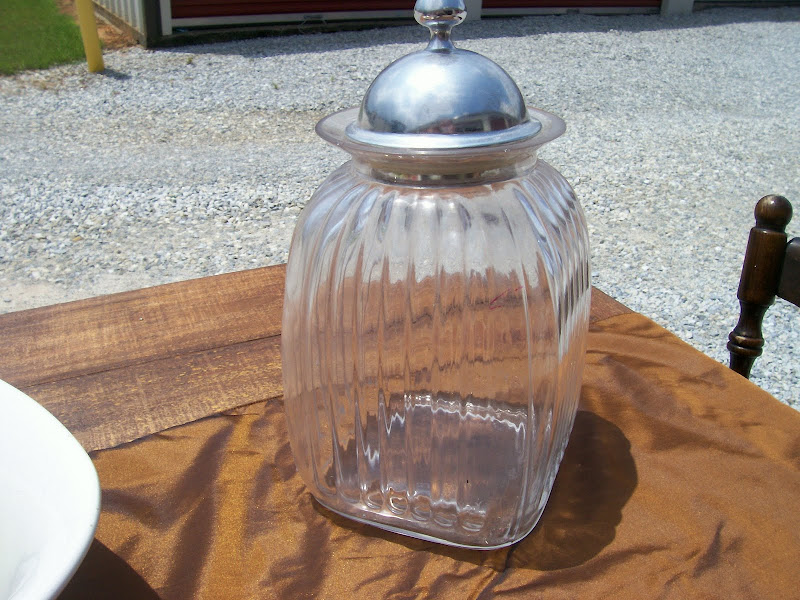 Great Glass Jar with a Pewter Lid. I Can Just See This filed With  title=