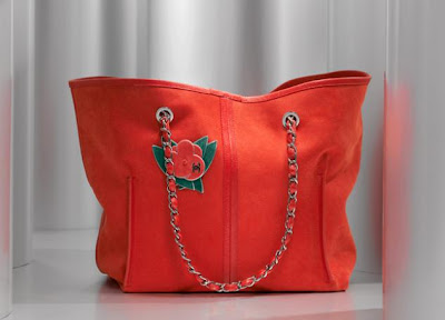 5099ddd113a6 Soft suede calfskin Chanel shopping bag without lining.Interlaced leather  chain with leather camellia detail. A46162 Y01669 81665