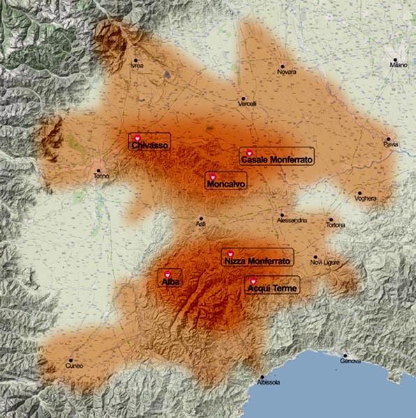 Area di influenza politico militare dei Marchesi di Monferrato in epoca Medievale.