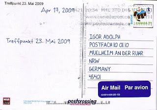 Postkarte verschickt über Postcrossing