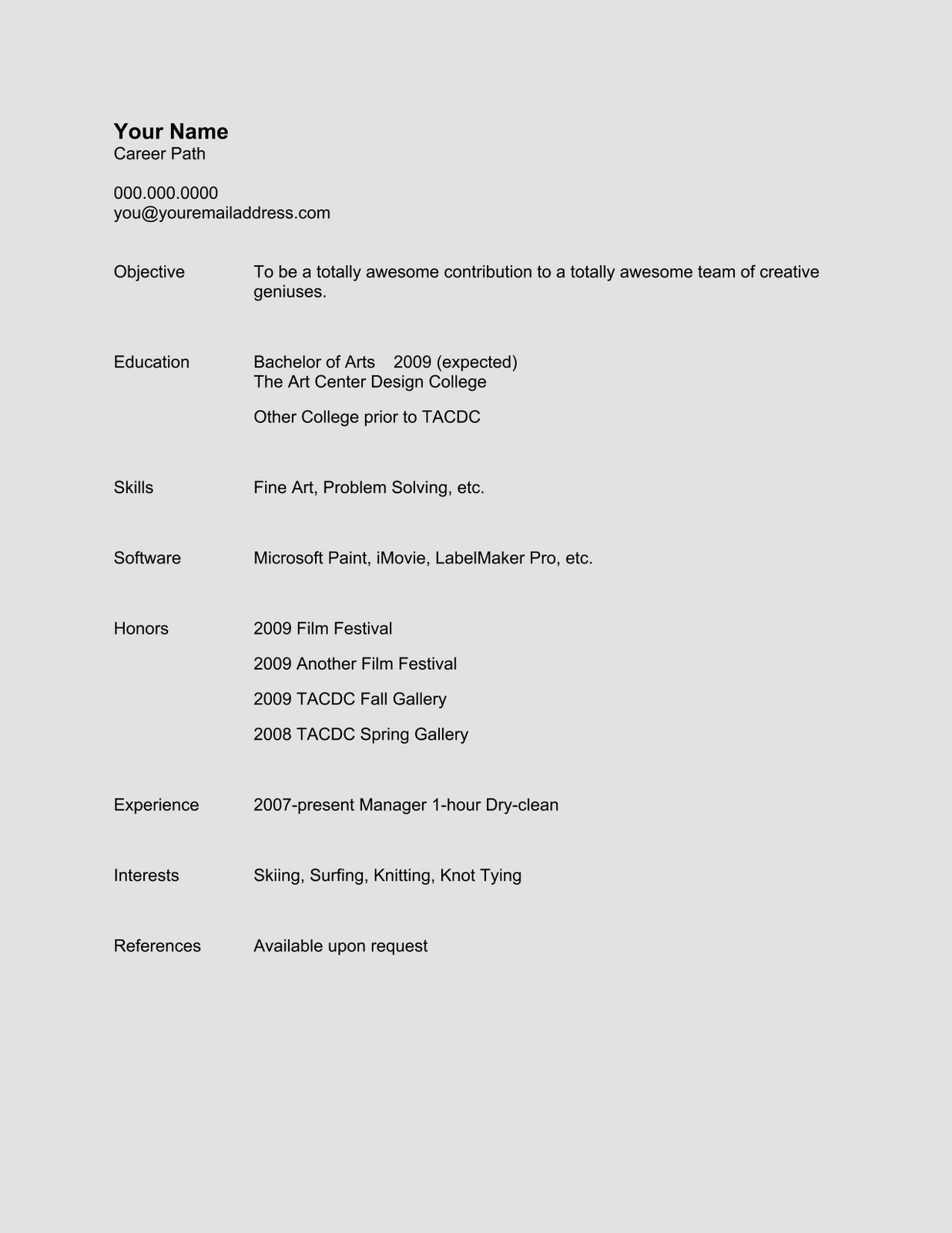 naming resume