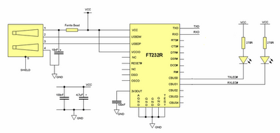 Converter USB to RS232 With IC FT232 Scheme