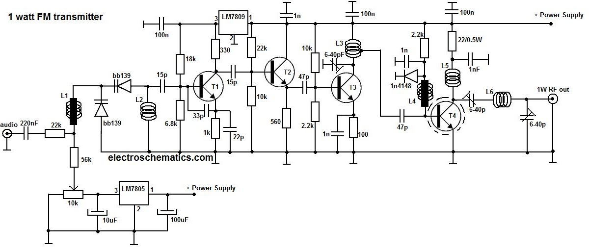 rangkaian fm transmitter 1w