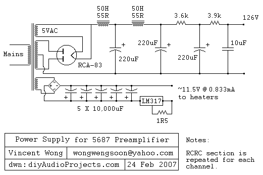 The heaters for the 5687 tubes are provided from a full bridge of MUR860 diodes, followed by 5...