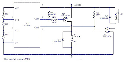 LM56 Thermostat Project Circuit Diagram