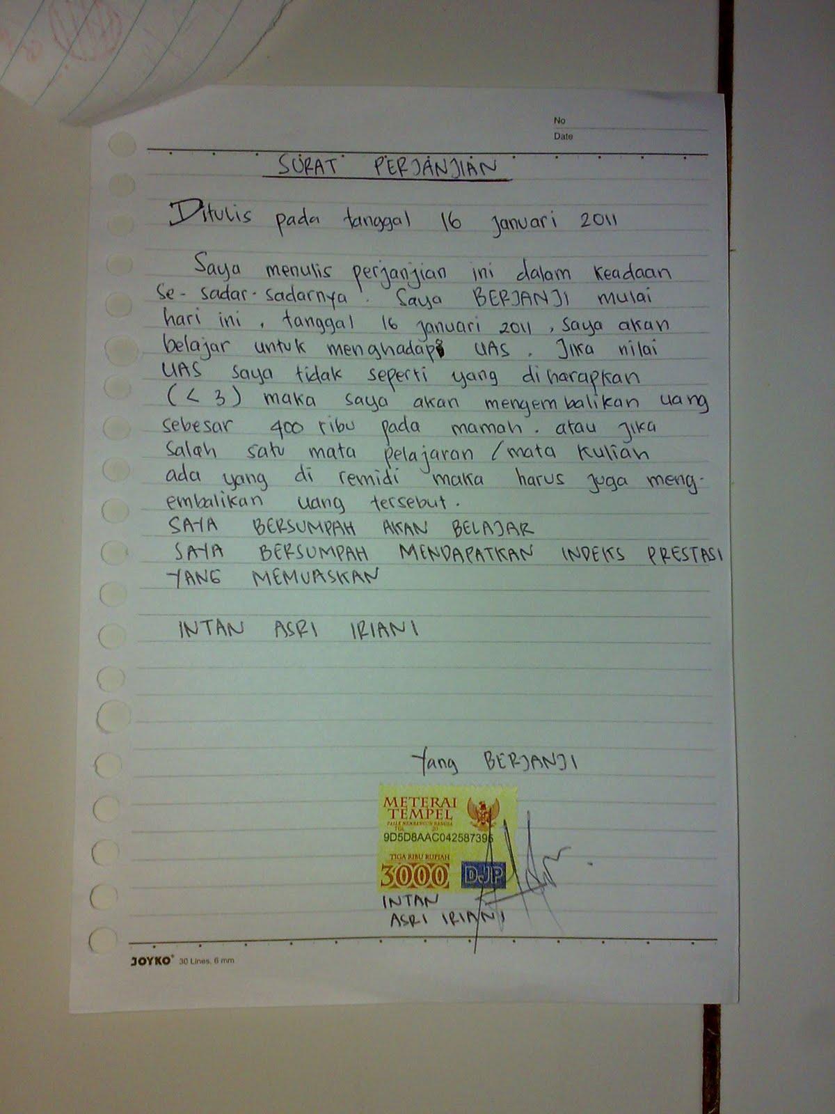 Contoh Surat Perjanjian Blog Bintang