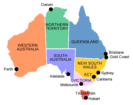 maps of australia with capital cities. major Australian cities