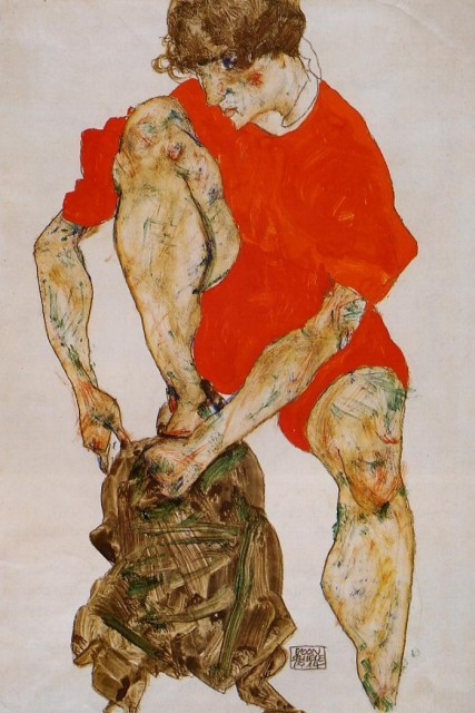 Egon Schiele - Page 3 Egon_Schiele_-_Female_Model_in_Bright_Red_Jacket_and_Pants
