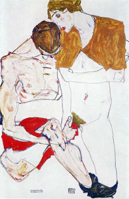Egon Schiele - Page 3 Egon_Schiele_-_Courting_couple_