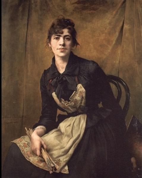 Autoportrait, image de l'intérieur Self+Portrait+with+Apron+and+Brushes