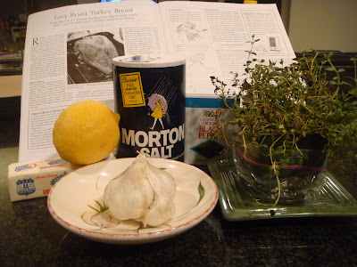 ingredients for lemon and thyme roast turkey breast