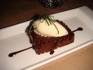 Chocolate terrine with sea salt and Thai basil ice cream at Ten Tables, Cambridge, Mass.