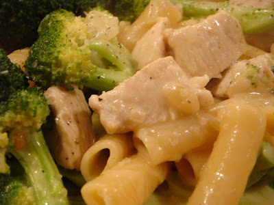 Chicken with broccoli, ziti, and Parmesan cheese