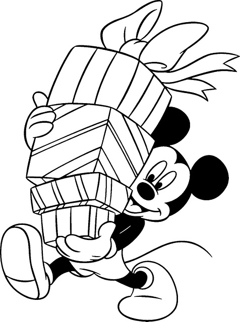 Free Disney Mickey Mouse Coloring Christmas Pages for Kids Children title=