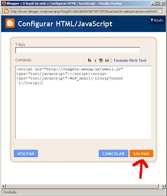 Configurar html do Blogger