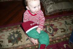 Opening his stocking