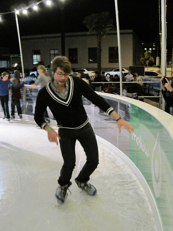 Matthew tried to skate backwards and do some fancy moves but he ended up