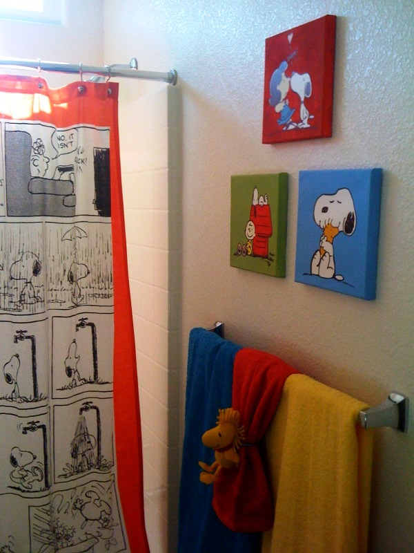 Curtains Ideas snoopy shower curtain : This is the three canvas paintings and a glimpse of the shower curtain ...