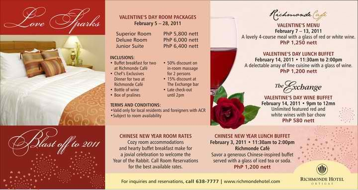 Fresh promos richmonde hotel ortigas valentine packages for Valentines day ideas for hotels
