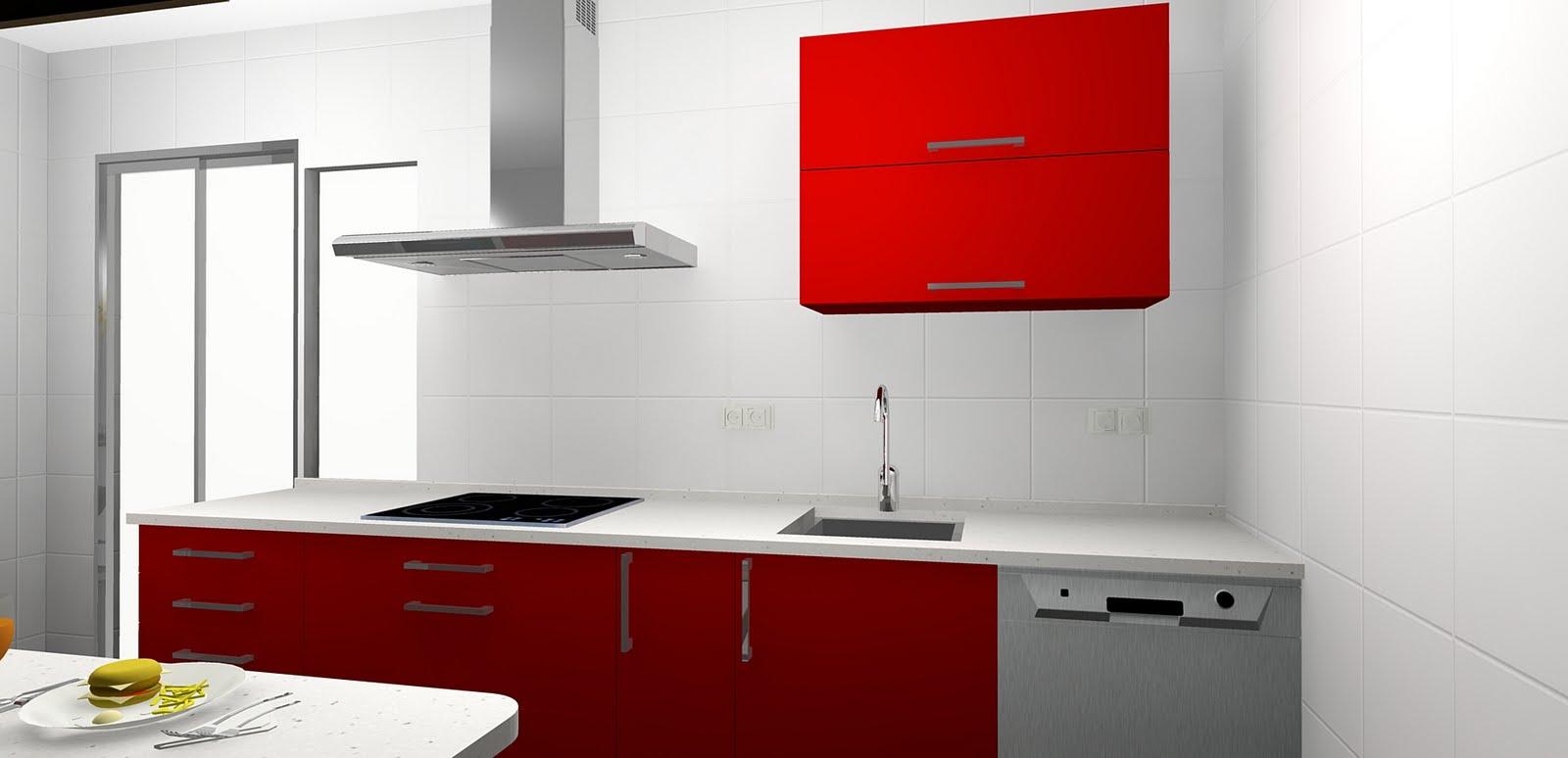 Todococina cocina roja y blanca for Cocina blanca encimera roja