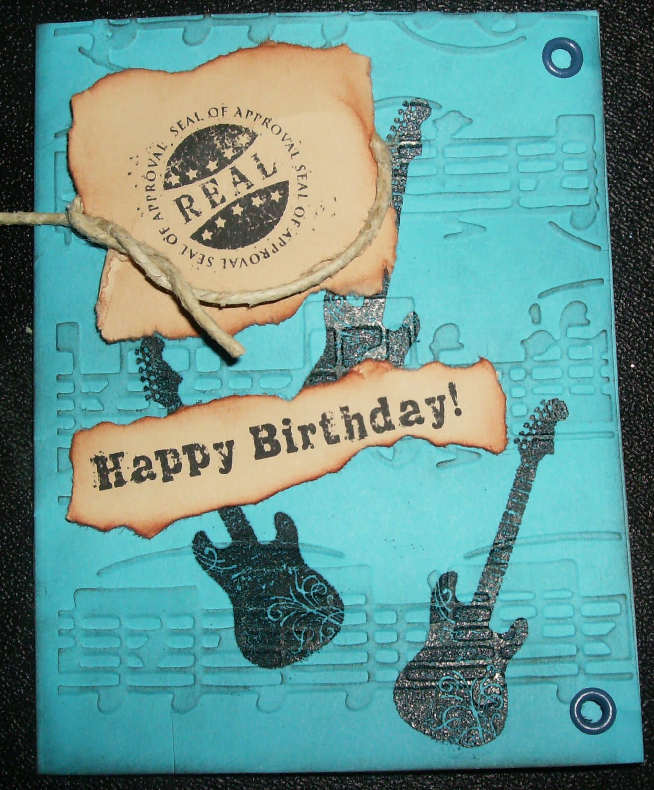 Double Embossed Music Birthday Card