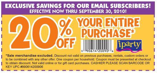 Just found two new coupons for iParty stores located on the east coast. These coupons are good for either a 20% discount off your entire purchase or $5 off your entire purchase when you .