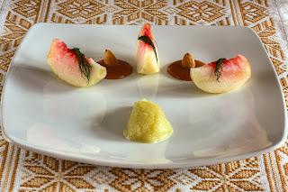 fehér húsú őszibarack pörkölt mandula krém mandulakrém édeskömény sorbet sörbet édesköménymag ánizskapor édesköménygumó édesköménysorbet