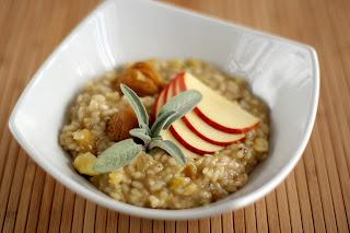 sült gesztenye rizottó kerekszemű rizs zsálya pecorino csirkealaplé alma
