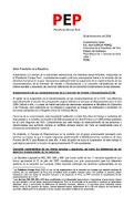 Carta al presidente Alan García de la Plataforma Europa Perú (PEP)