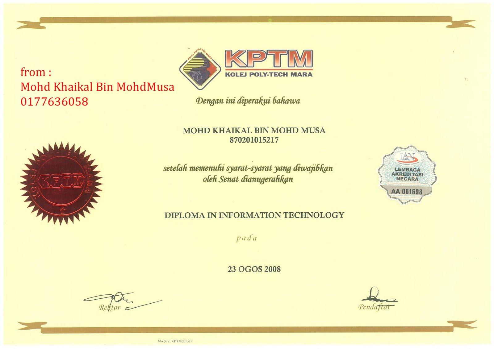 Khaikal Certificated