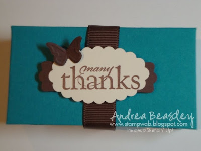 Taken with Teal cardstock 107090 Chocolate Chip cardstock 102128