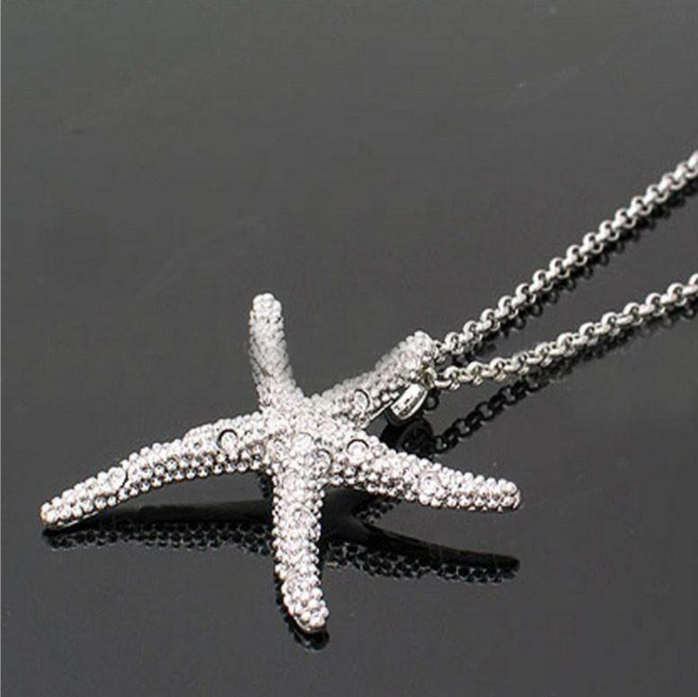 pretty4care sparkling clear rhinestone starfish pendant