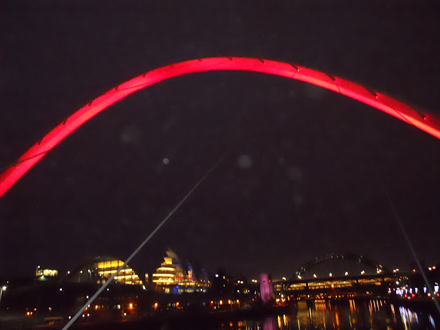 The Gateshead Millenium Bridge was opened for public in 2001 and is a pedestrian and cyclist's bridge across the river Tyne. It connects the city of Newcastle to Gateshead. It is also known as the Winking Eye bridge because of its shape. At night, it is a spectacular sight as it changes colors and is visible from a distance along the lighted quayside. It is also the only Titling structure in the world.Various Colors of the Millenium Bridge.Me on the Pedestrian walkway. The lights of the city of Newcastle-Upon-Tyne are visible in the background.Some beautiful buildings at the Gateshead Quayside, which in Tony Blair's opinion is the best Quay in the whole of Europe. The picture just above this caption is a bit blurred. There was a beautiful reflection of snowflakes on the building. In the absence of a tripod, this was the best pic I could manage.The Millenium bridge in Rainbow colours.Sujata with the Tyne Bridge, the High level bridge and the Swing bridge visible in the background. A Fish-n-Chips on Newcastle Quayside. Thats a big fish they have here.Newcastle Upon Tyne, United Kingdom, Quayside, Millenium Bridge, Winking Eye Bridge, Tyne Bridge, High Level Bridge, Swing Bridge, Gateshead, River Tyne