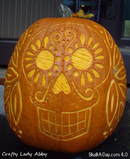 Day Of The Dead Pumpkin Pattern Skull-a-day 4.0 - tutorial