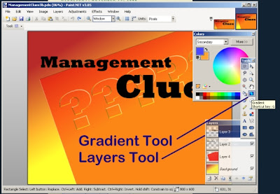Paint.Net program showing locations of Gradient tool and the Layers tool.