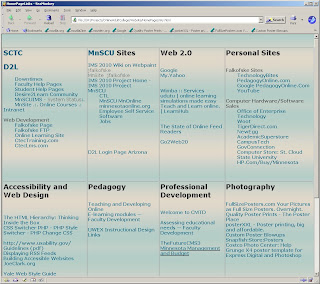 Screenshot of a page of hyperlinks segmented into a table by category of type of link