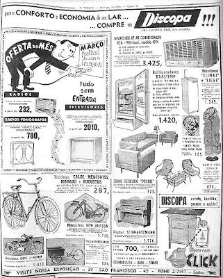 Reprodução de anúncio no jornal A Tribuna de Santos