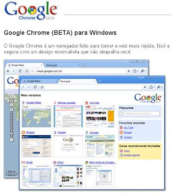 Clique para ir até a página do Google Chrome