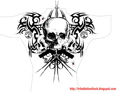 Flash Art Tattoo Life Back for Men Splitting in the veins and down the