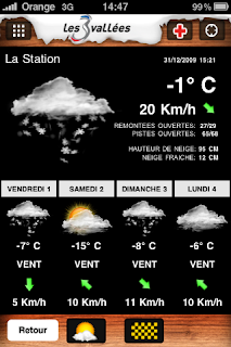 Les 3 Vallees weather forecast on iPhone app