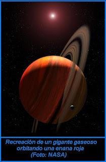 Recreación de un gigante gaseoso orbitando una enana roja (Foto Nasa)