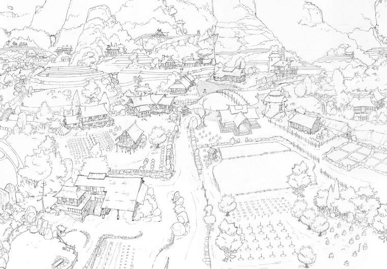 la vue aérienne du village