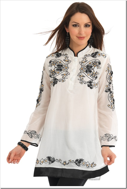 White Kurta-Black thread Embroidery