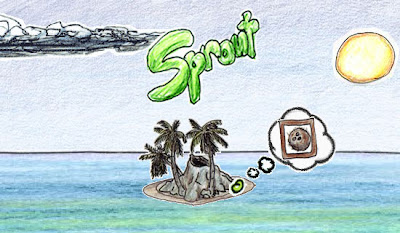 Image of Sprout - a hand drawn idyllic island in a tropical sea, with a small seed thinking about what it might grow into.
