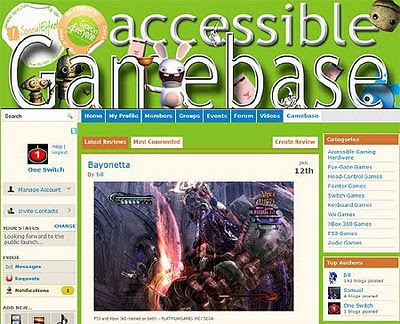 Image of the brand new Accessible Gamebase web-site from SpecialEffect. Bayoneta pictured.