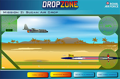 Image of RAF game Dropzone. Image of a plane about to drop cargo on a painted red white and blue target.